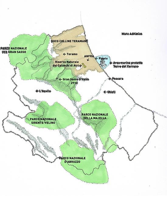 Mappa dell'Abruzzo con i parchi ed Anfra
