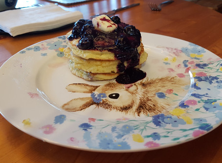 Keto Blueberry Coconut Flour Pancakes with Blueberry Sauce