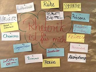 Rhetorik ist für mich ... Lampenfieber, Sympathie, Präsenz, Zuhörer binden, Charisma uvm.