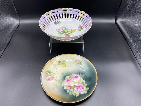 Lefton Bowl and Hand Painted Plate