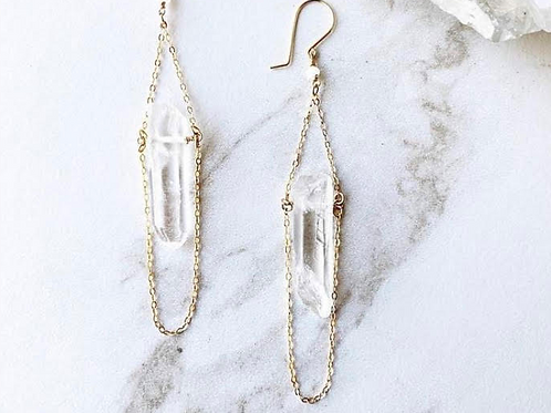 RAW CRYSTAL QUARTZ | drop earrings