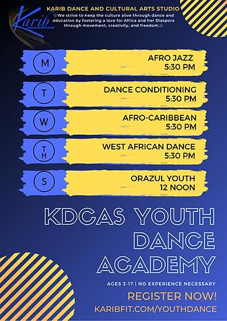 _KDCAS YOUTH DANCE ACADEMY class schedul