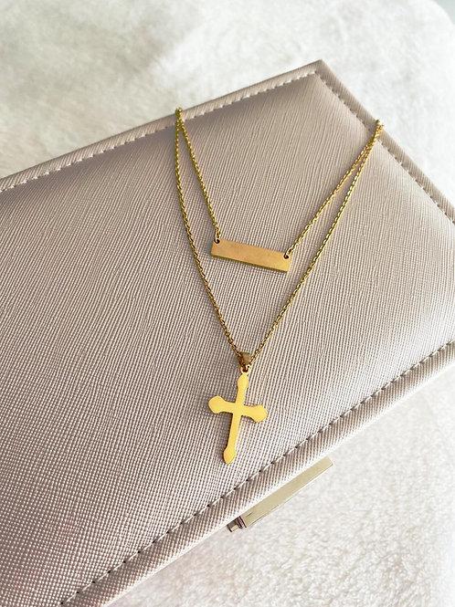 Cadena cruz de plata personalizada