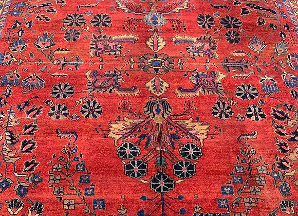 Persian Antique Sarouk Mahajeran Wool on Cotton
