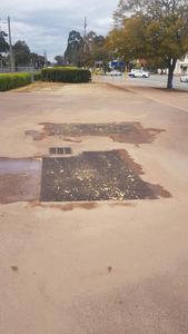 Bitumen carpark patch repair - Alfreds Kitchen Guildford - Perth eastern suburbs
