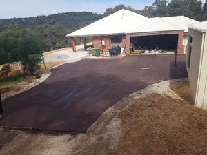 Red asphalt driveway and parking area - Roleystone - Perth hills