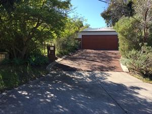 Red asphalt driveway with kerbing - Darlington - Perth hills