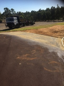 Driveway extension with red oxide bitumen - Bullsbrook - Perth hills