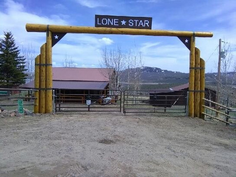 Strapped Triple Beam Lodge Pole Archway with Sign
