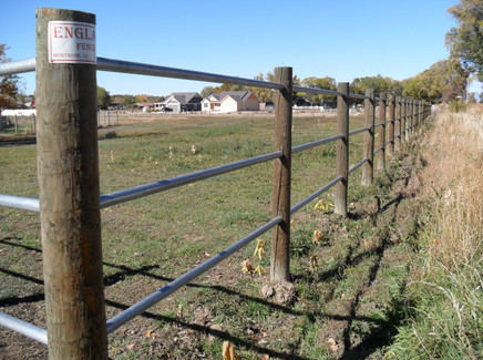 3-Rail Galvanized Pipe Fence with Treated Posts