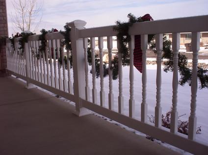 White Vinyl Deck Railing with Decorative Dowels