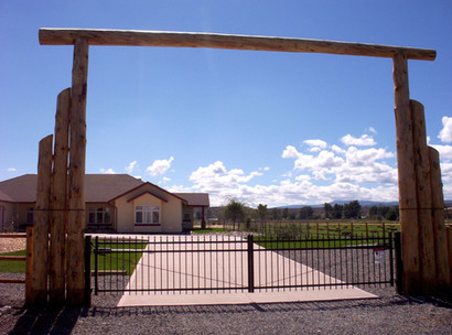 Iron Picket Double Drive Gate with Solor Powered Operator