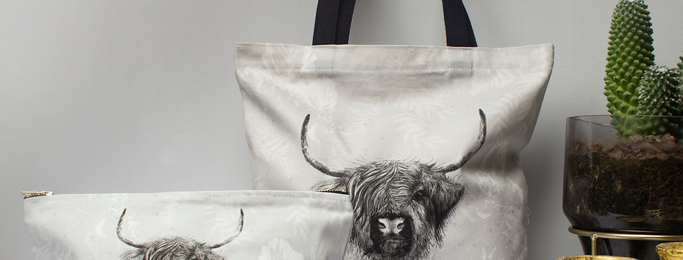 Highland Cow Tote & Zip Bag Set