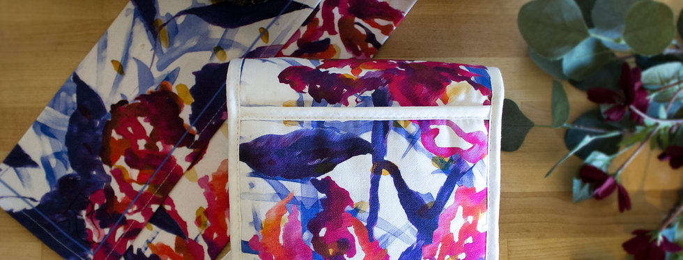 Abstract Floral Luxury Oven Gloves