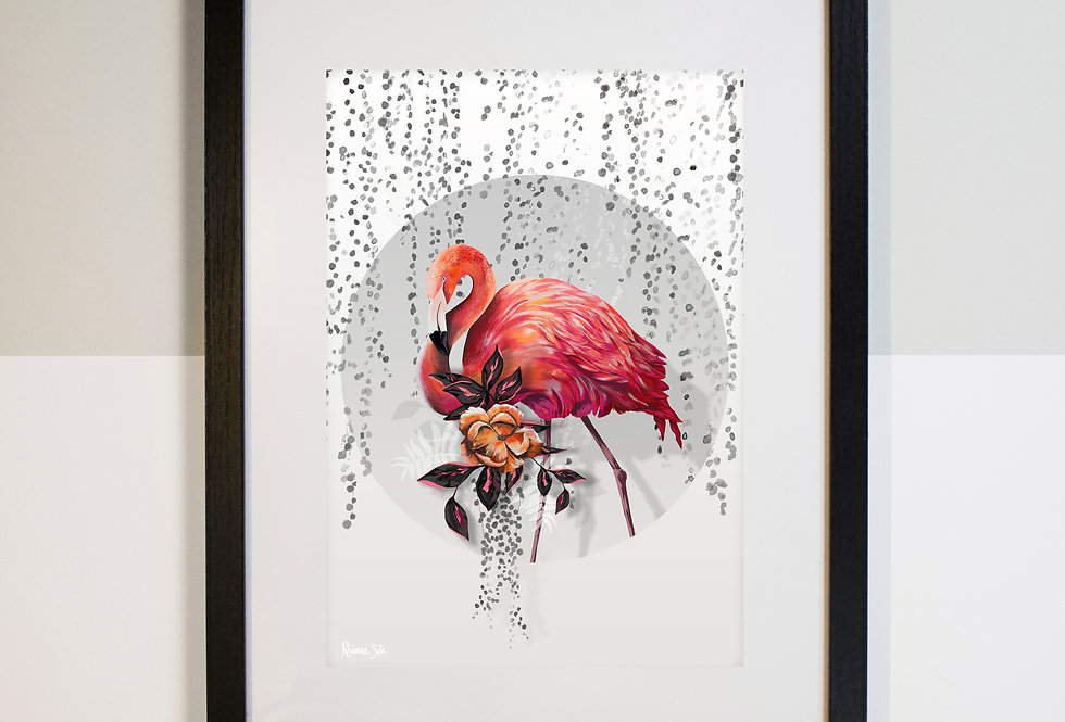 Sundown Flamingo Illustrated Print (Mount Only)