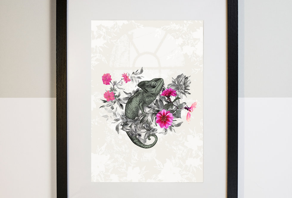 Chameleon Mounted Print