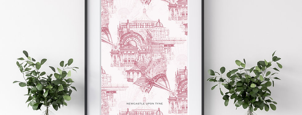A3 Pink Newcastle Upon Tyne Illustrated Print