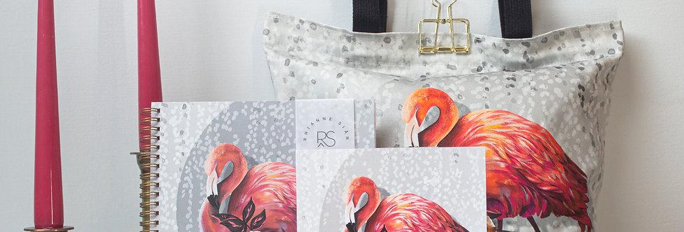 Flamingo Tote & Notebook Gift Set