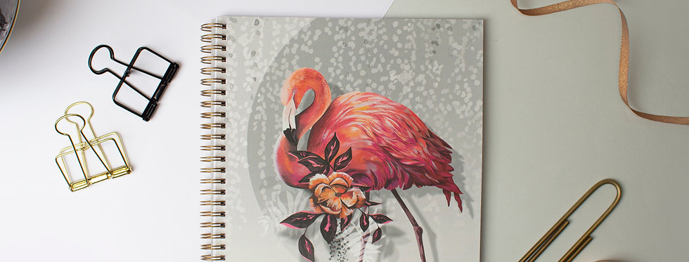 Sundown Flamingo Large Ring binder Notebook