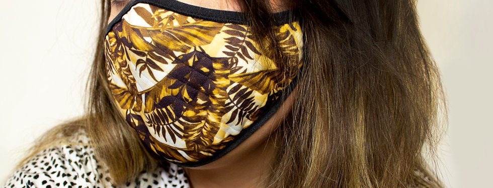 Tropical Reusable Face Mask Yellow