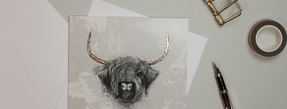 Highland Cow Hand Foiled Card