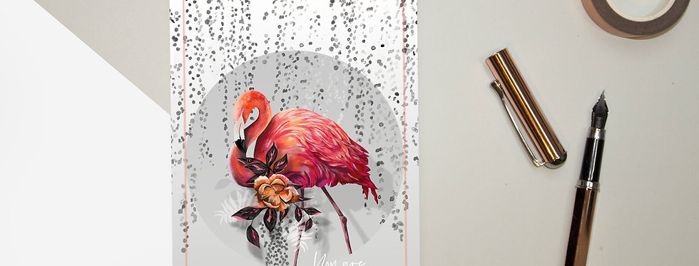 Sundown Flamingo Postcard