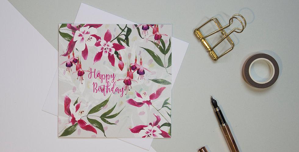 Greeting Card - Fuchsia Floral Happy Birthday | Rhianne Siân Designs