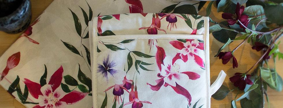 Fuchsia Floral Luxury Oven Gloves