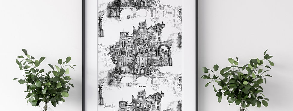 Durham City Architecture Illustrated Mounted Print