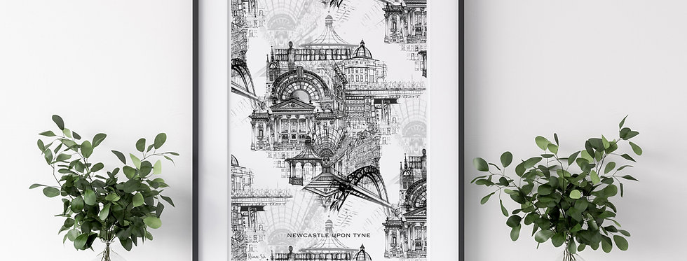Newcastle Upon Tyne Illustrated Print Grey 10''x12'' / A3