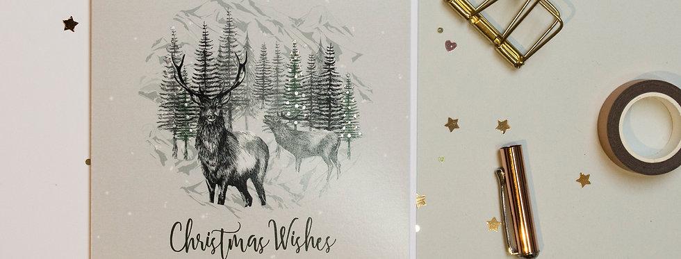 Highland Deer Christmas Card
