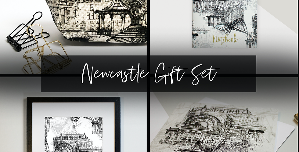 Newcastle Print, Wash bag & Notebook Gift Set