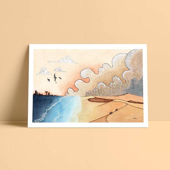 """Illustration originale encre et aquarelle """"Mirage"""""""
