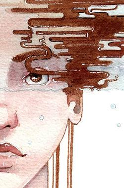 Portrait surréaliste à l'aquarelle