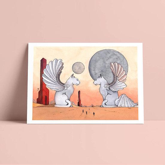 "Illustration originale encre et aquarelle ""Gardiens"""