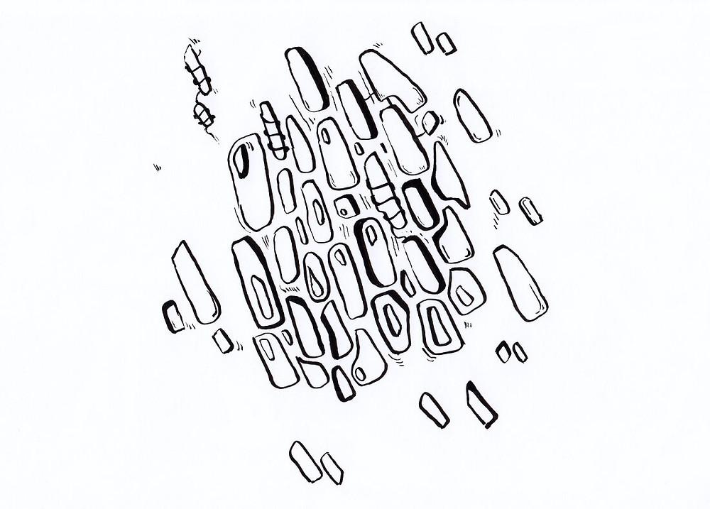 Dessin automatique au feutre pinceau