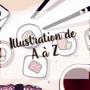 """Illustration numérique """"Une envie de Sushis"""""""