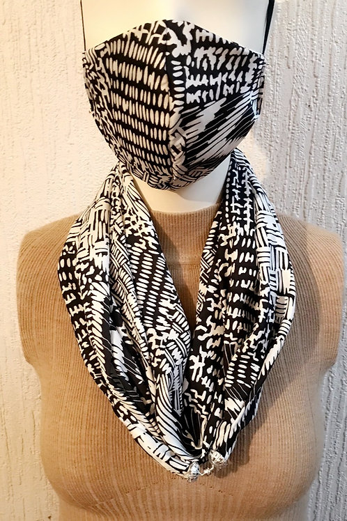 Black and white abstract Scarflace + Face Mask Set.
