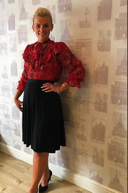 Black Jersy  Swing  Skirt
