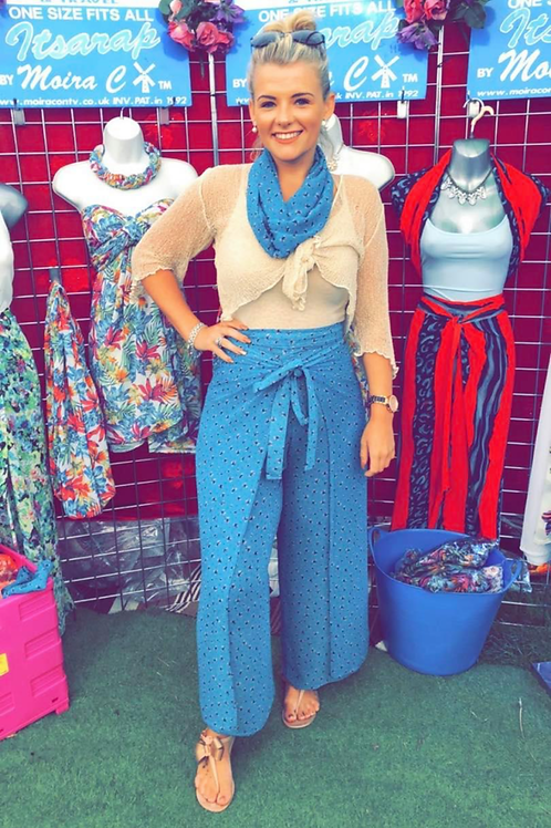 Teal Bow It's A Wrap Trousers