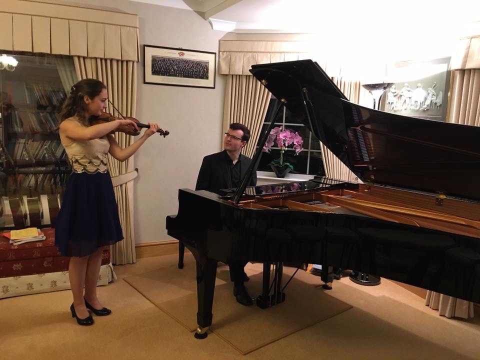rehearsing with Eva Zavaro for recitals in England and Germany