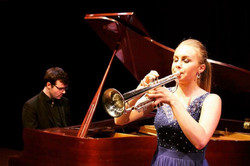 with trumpeter Matilda Lloyd at a recital in the UK