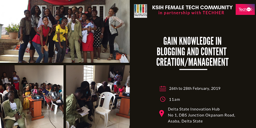 Blogging and Content Creation/Management Training for Females in Technology