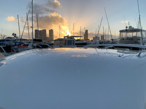 Sunset over Southport Yacht Club