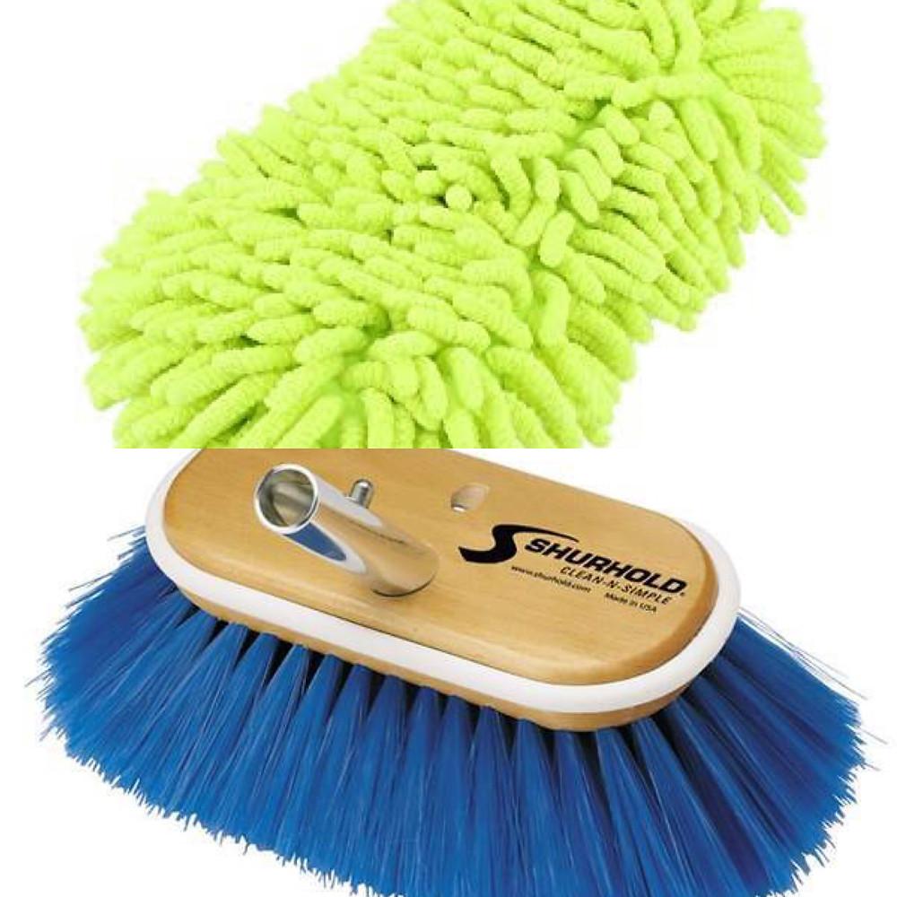 Chenille microfibre wash mitt or ultra soft boat brush