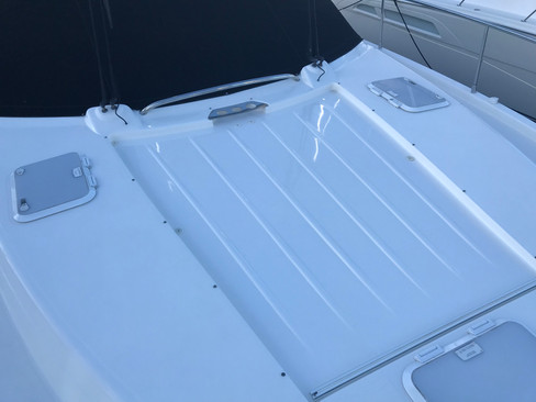 Lustre restored to the gelcoat on the bow of this 44 foot Riviera
