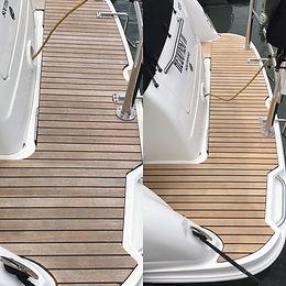 Teak decking on a boat