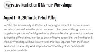 Community of Writers Aug 1-8