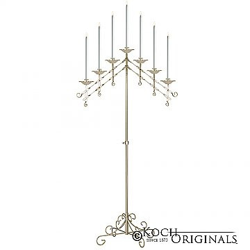 7 light adjustable floor candelabra gold