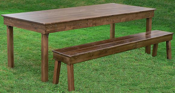 Walnut Finish Farm Table